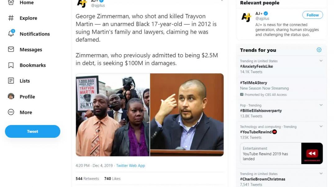 Racist murderer George Zimmerman sues Martin Family.mp4