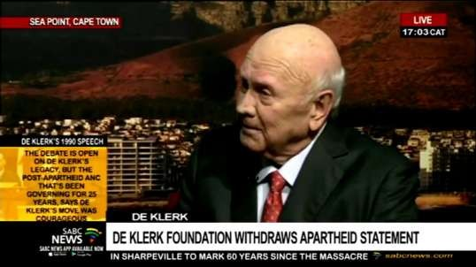 Ex white president of south africa says apartheid not a crime against humanity gets backlash