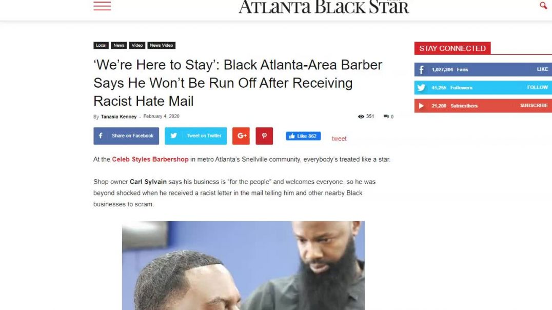 Black Barber receiving racist hate mail.mp4