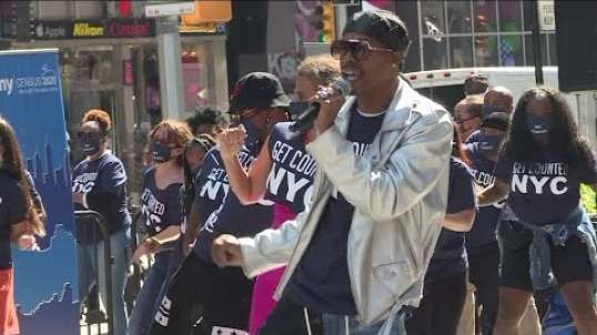 Census flash mob party takes over Times Square